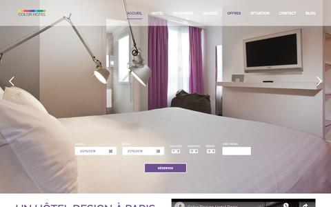 Screenshot of Home Page colordesign-hotel-paris.com - Color Design Hotel Paris - Gare de Lyon - Bastille - SITE OFFICIEL - captured Oct. 21, 2018