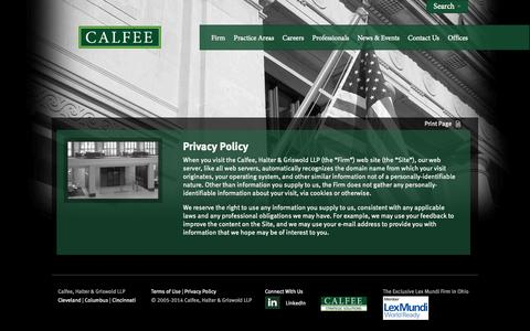 Screenshot of Privacy Page calfee.com - Firm Privacy Policy | Calfee, Halter & Griswold LLP - captured Oct. 1, 2014