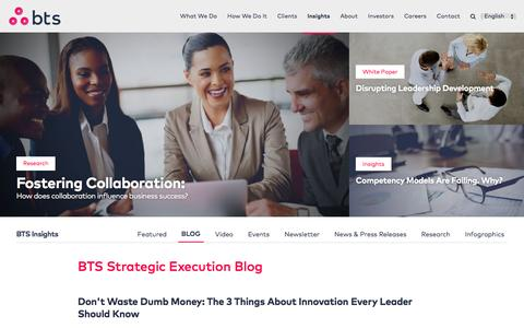 Screenshot of Blog bts.com - Strategy Execution Blog - BTS - captured May 31, 2017