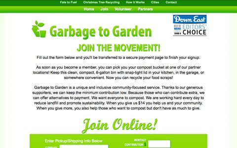 Screenshot of Signup Page garbagetogarden.org - Join Today! | Curbside Composting | Garbage to Garden - captured Sept. 30, 2014