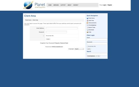 Screenshot of Login Page planetsmb.com - Planet Small Business - Client Area - captured Oct. 3, 2014
