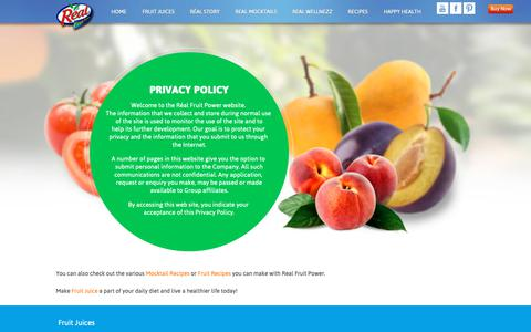 Screenshot of Privacy Page dabur.com - Real Fruit :: Privacy Policy - captured Oct. 24, 2018