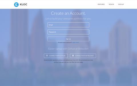 Screenshot of Signup Page kloc.me - Kloc   Effortless and beautiful portfolios for developers. - captured Sept. 30, 2014