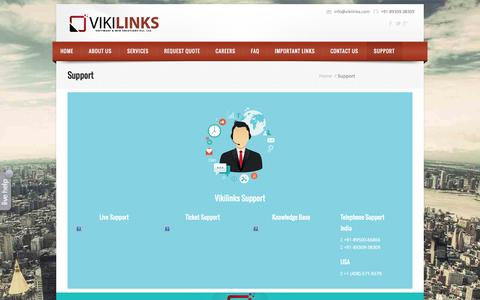 Screenshot of Support Page vikilinks.com - SUPPORT   BEST WEB DEVELOPMENT COMPANY - captured Nov. 5, 2014
