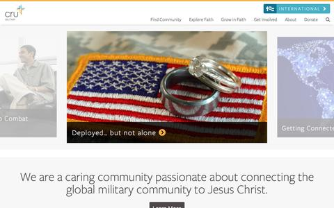 Screenshot of Home Page crumilitary.org - Welcome to CruMilitary - Cru Military - captured Dec. 13, 2015