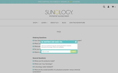 Screenshot of FAQ Page sunology.com - FAQs - Sunology Oxybenzone-free Sunscreen – Sunology Mineral Sunscreen - captured Oct. 18, 2017