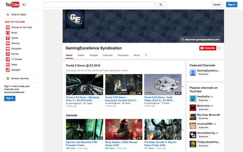 Screenshot of YouTube Page youtube.com - GamingExcellence Syndication  - YouTube - captured Oct. 22, 2014