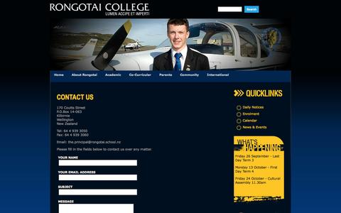 Screenshot of Contact Page rongotai.school.nz - Welcome to Rongotai College About Us - captured Oct. 7, 2014