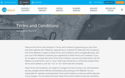 Screenshot of Terms Page cisabroad.com - Terms and Conditions | CISabroad - captured Sept. 25, 2018