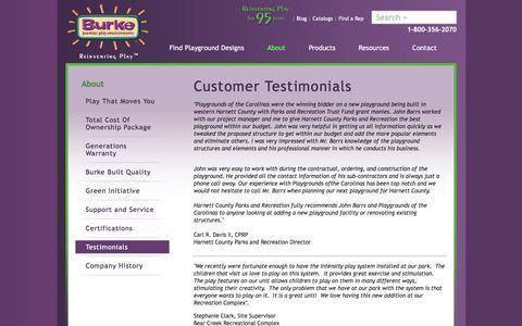 Screenshot of Testimonials Page bciburke.com - Outdoor Playgrounds   Customer Testimonials   Children Playground - captured Feb. 7, 2016