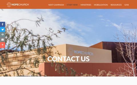 Screenshot of Contact Page hopechurchonline.com - Contact Us   Hope Church Las Vegas - captured Sept. 3, 2017