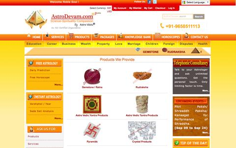 Screenshot of Products Page astrodevam.com - AstroDevam-  Free Online Astrology, Horoscope, Numerology, Vastu Expert - captured Sept. 23, 2014