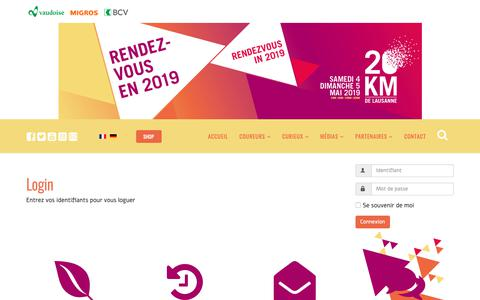Screenshot of Login Page 20km.ch - Login - 20KM de Lausanne - captured Oct. 19, 2018