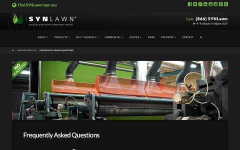 Screenshot of FAQ Page synlawn.com - SYNLawn partnership frequently asked questions - captured Aug. 2, 2015