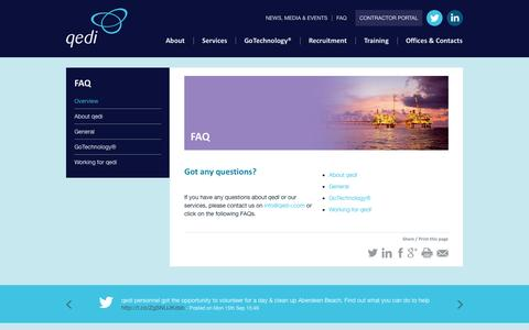Screenshot of FAQ Page qed-i.com - FAQ - captured Sept. 30, 2014