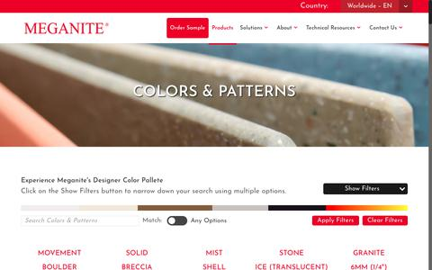 Screenshot of Products Page meganite.com - Colors And Patterns | High-Quality Hygienic Surfaces | Meganite - captured Jan. 7, 2018