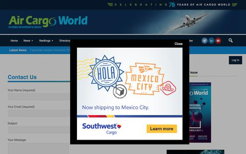Screenshot of Contact Page aircargoworld.com - Contact Form   Air Cargo World - captured July 29, 2018