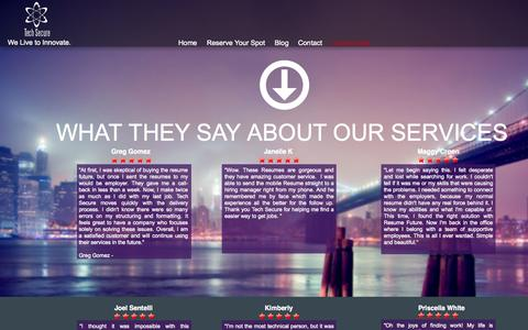 Screenshot of Testimonials Page techsecure.co - Testimonials - captured Oct. 7, 2014