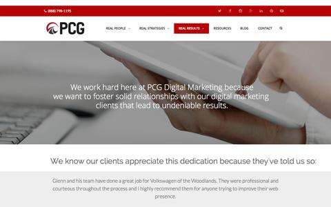 Screenshot of Testimonials Page pcgdigitalmarketing.com - PCG Customer Testimonials   NJ Internet Marketing Agency - captured Oct. 1, 2015