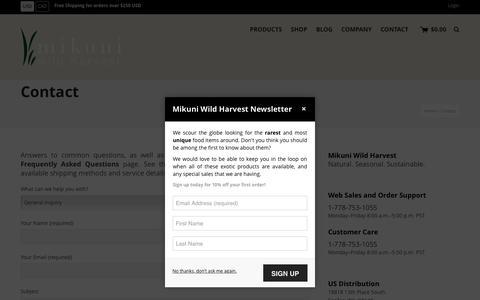 Screenshot of Contact Page mikuniwildharvest.com - Contact | Mikuni Wild Harvest - captured Dec. 20, 2016