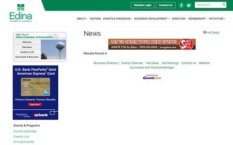 Screenshot of Press Page edinachamber.com - News - Edina Chamber of Commerce, MN - captured Feb. 17, 2018