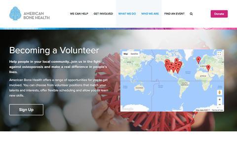 Screenshot of Signup Page americanbonehealth.org - Becoming a Volunteer – American Bone Health - captured May 30, 2017
