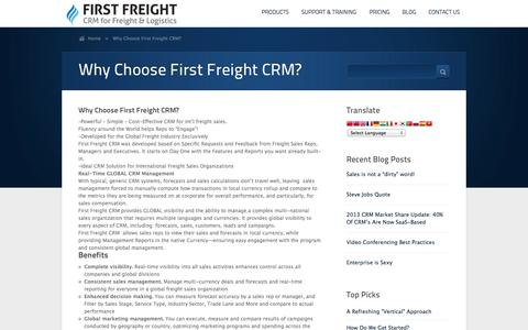 Screenshot of FAQ Page firstfreight.com - Why Choose First Freight CRM?      First Freight CRM - CRM for the Global Freight Industry - captured Oct. 6, 2014
