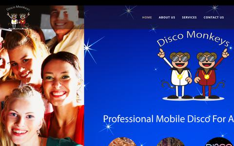 Screenshot of Home Page discomonkeys.net - Disco Monkeys – Mobile Disco for Berkshire and Surrounds - captured Aug. 7, 2018