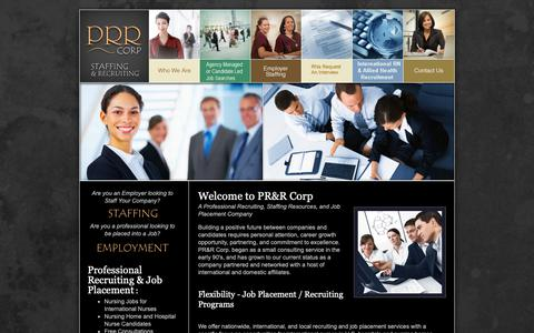 Screenshot of Home Page prrcorp.com - Professional Resources & Recruiting PRR Corp, Staffing, Recruiting, Employment Temp and Direct Hire - captured Nov. 4, 2018