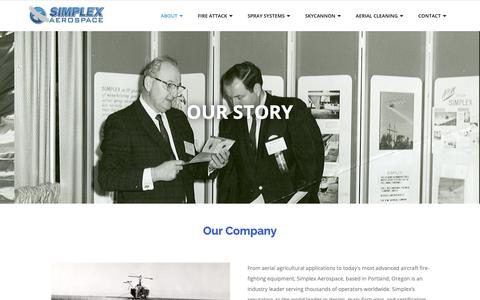 Screenshot of About Page simplex.aero - Our Story – Simplex Aerospace - captured Oct. 19, 2018
