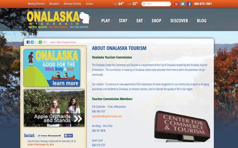 Screenshot of About Page discoveronalaska.com - Onalaska Tourism Commission   Discover OnalaskaDiscover Onalaska - captured Oct. 26, 2014