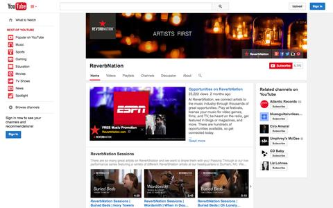 Screenshot of YouTube Page youtube.com - ReverbNation  - YouTube - captured Oct. 22, 2014
