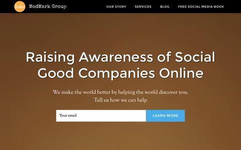 Screenshot of Home Page modmarkgroup.com - ModMark Group: raising awareness of social good companies - captured Oct. 9, 2014