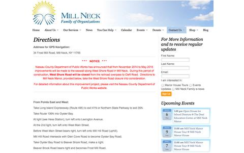 Screenshot of Maps & Directions Page millneck.org - Directions | Mill Neck Family of Organizations - captured Nov. 4, 2014