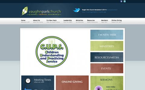 Screenshot of Home Page vaughnpark.com - Vaughn Park Church of Christ | - captured Oct. 7, 2014