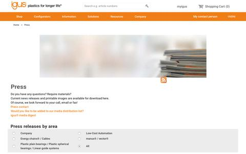 Screenshot of Press Page igus.com - igus® - Press releases and press photos - captured Sept. 22, 2018