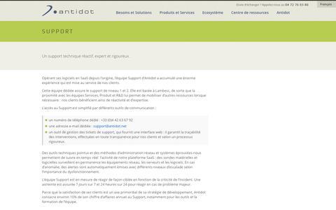 Screenshot of Support Page antidot.net - Un support technique réactif, expert et rigoureux - Antidot - captured Sept. 24, 2014