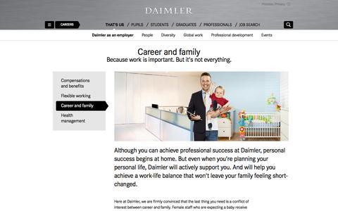 Screenshot of daimler.com - Balancing a career and a family   Daimler > Careers > That's us > Daimler as an employer > Career and family - captured April 14, 2016