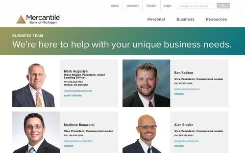 Screenshot of Team Page mercbank.com - Business Team | Business Banking | Mercantile Bank of Michigan | Grand Rapids, MI - captured Oct. 4, 2017