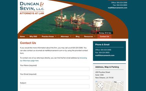 Screenshot of Contact Page duncansevin.com - Contact Us - captured Oct. 5, 2014