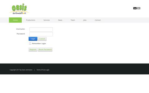 Screenshot of Login Page oasisanimation.com - User Log In - captured Oct. 25, 2017