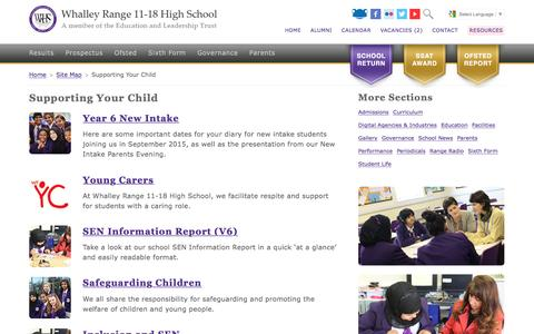 Screenshot of Support Page wrhs1118.co.uk - Supporting Your Child - Whalley Range 11-18 High School - captured May 30, 2016