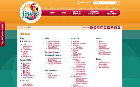 Screenshot of Site Map Page flalottery.com - Florida Lottery - Site Map - captured Sept. 18, 2014
