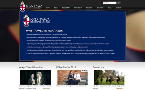 Screenshot of Home Page Site Map Page Terms Page ngatawa.school.nz - Home - Nga Tawa Diocesan School - captured Oct. 9, 2014