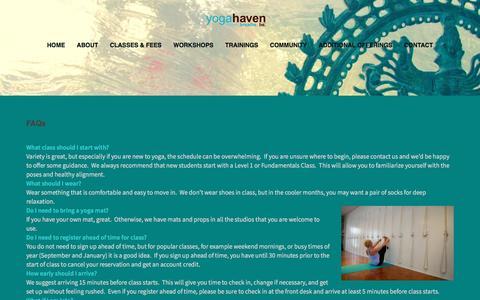 Screenshot of FAQ Page yogahaven.com - Yoga FAQs   Yoga Haven - captured Dec. 6, 2016