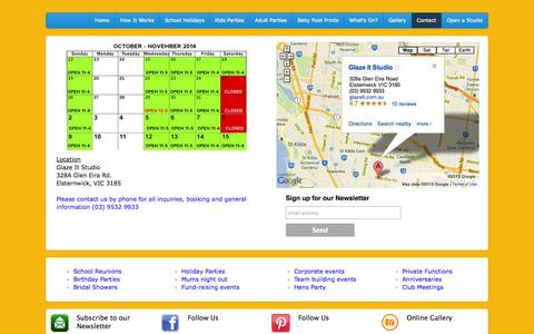 Screenshot of Contact Page Maps & Directions Page glazeit.com.au - Glaze It (03) 95329933 328a Glen Eira Road, Elsternwick Pottery Painting Ceramic Painting Adults Kids Parties Melbourne - captured Oct. 22, 2014
