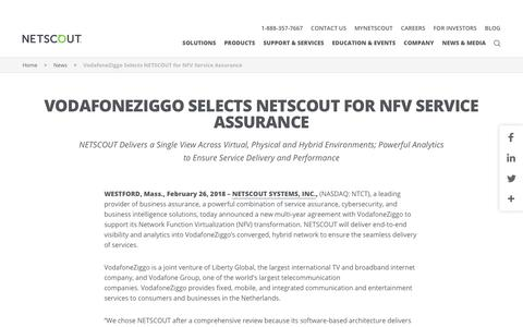 Screenshot of Press Page netscout.com - VodafoneZiggo Selects NETSCOUT for NFV Service Assurance - captured March 18, 2018