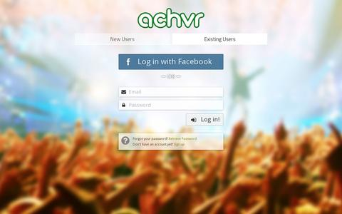 Screenshot of Login Page achvrs.com - Achvr - captured July 18, 2014