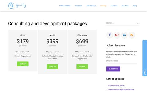 Screenshot of Pricing Page gurify.com - Podio Consulting - Pricing - captured June 18, 2016