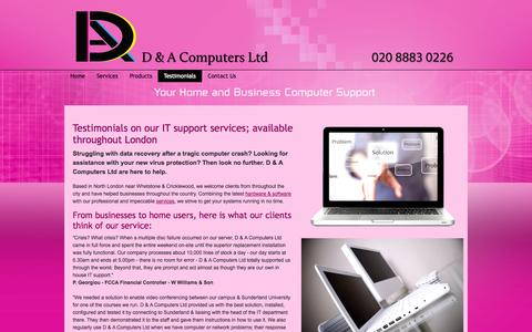 Screenshot of Testimonials Page dacomputers.co.uk - Testimonials On Our IT Support Services - London - captured Oct. 2, 2014